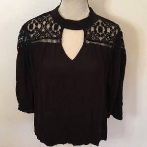 A.N.A black lace detail keyhole blouse XXL